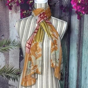100% Pure Silk Floral plaid scarf Foulard